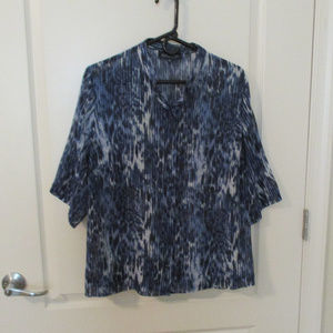 Jones New York Signature Blouse 1X Blue Black